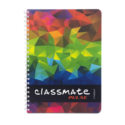 Classmate Soft Cover 6 Subject Spiral Binding Notebook, Single Line, 300 Pages
