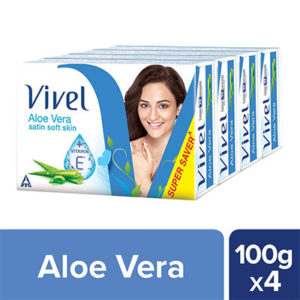 Vivel Aloe Vera Bathing Bar, 100g (Pack of 4)