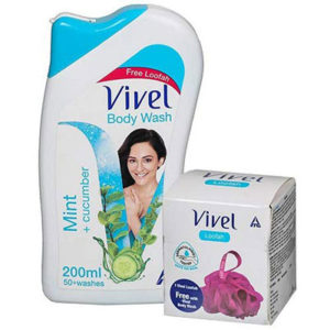 Vivel Body Wash, Mint and Cucumber, 200ml with free Vivel Loofah